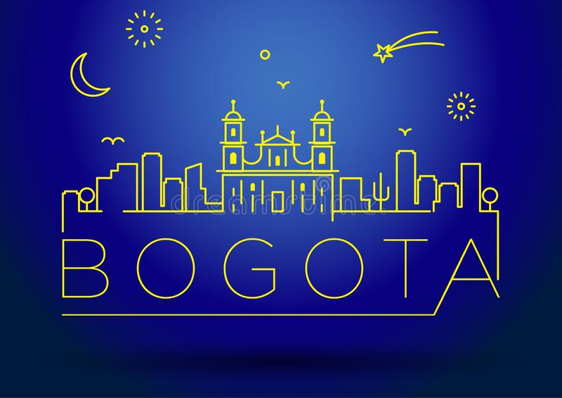 Perímetro urbano projeto tipográfico de Bogotá da silhueta ilustração do vetor
