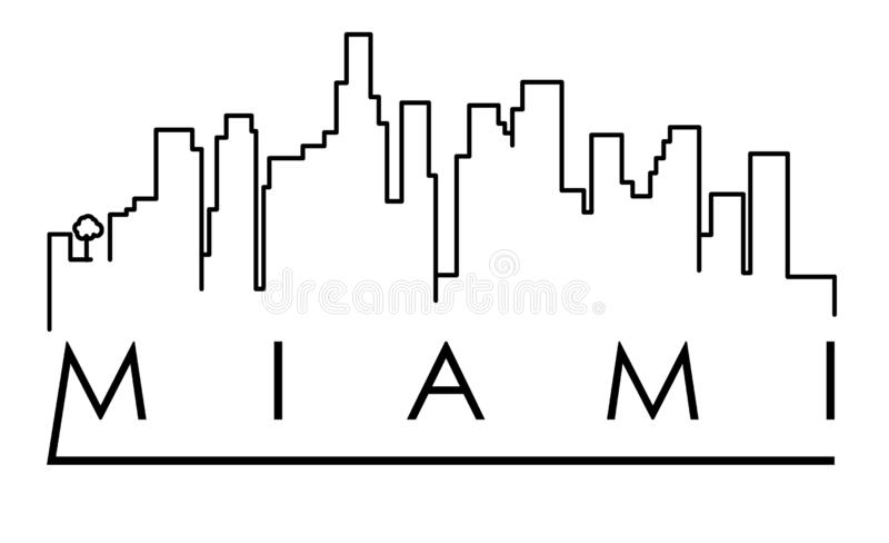 Perímetro urbano projeto tipográfico de Miami da silhueta ilustração do vetor