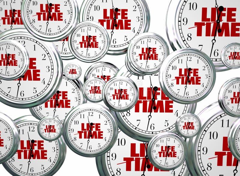Período Live Expectancy Clocks Flying da vida ilustração do vetor