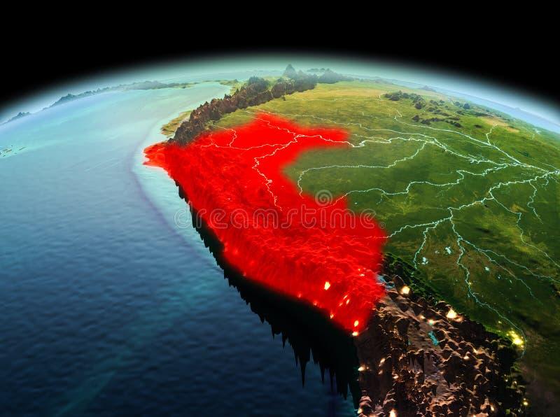 Perú en la tierra del planeta en espacio libre illustration