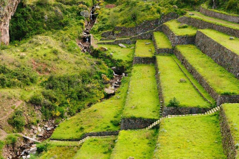 Perú, valle sagrado, ruinas del inca de Pisaq fotos de archivo