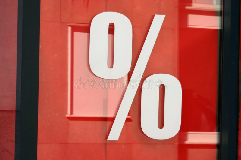 Per cent. Price reduction stock photography