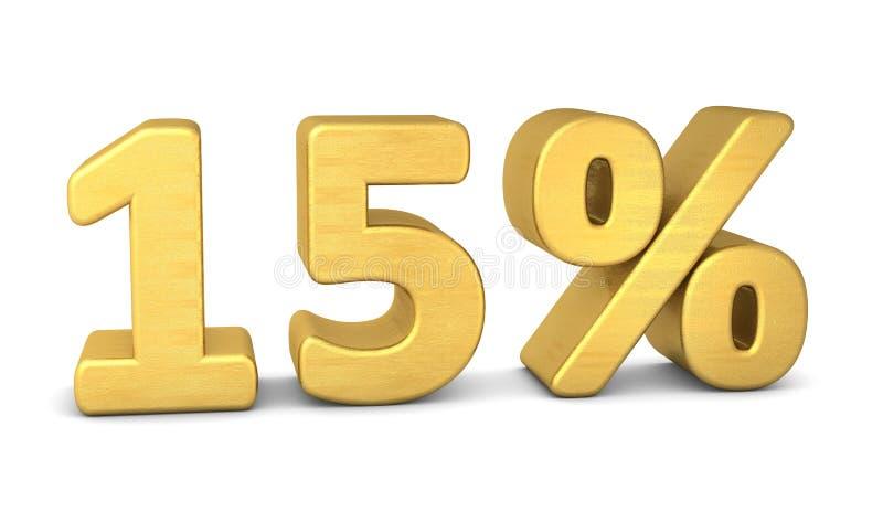 15 per cento dell'oro di simbolo 3d illustrazione vettoriale