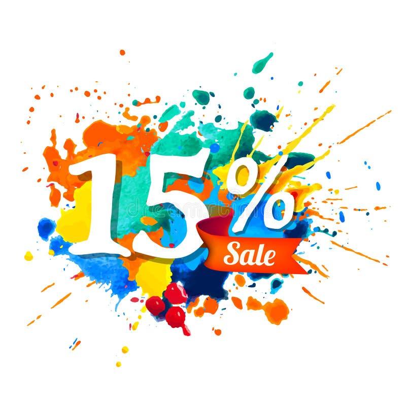 15 per cento di vendita Pittura della spruzzata illustrazione vettoriale