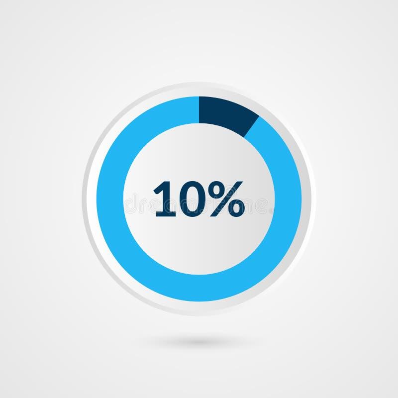 10 per cento diagramma a torta di bianco e di grey blu Infographics di vettore di percentuale Illustrazione di affari del diagram illustrazione di stock