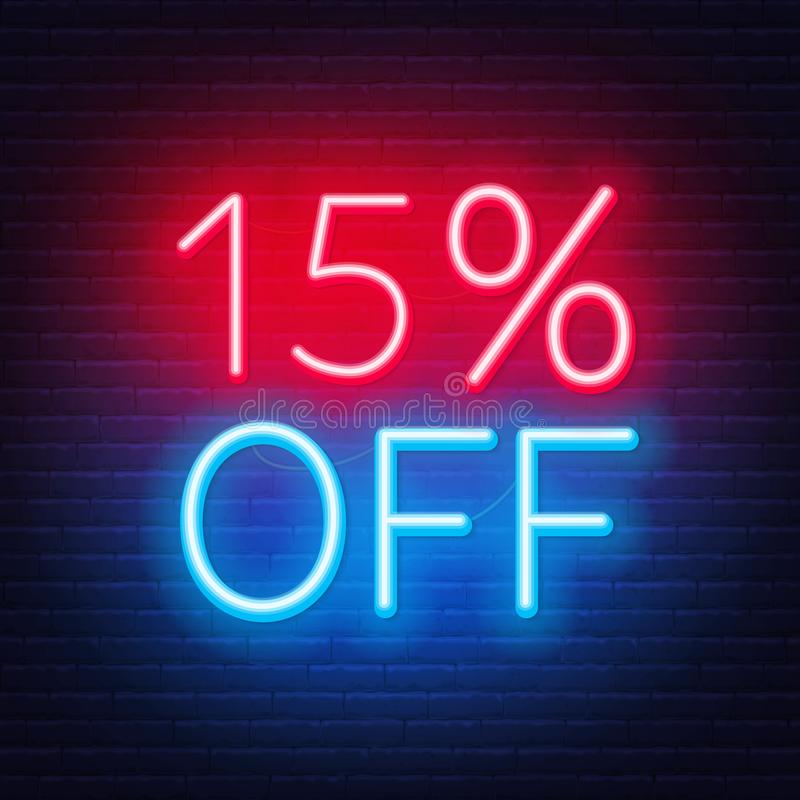 15 per cento fuori da iscrizione al neon sul fondo del muro di mattoni illustrazione vettoriale