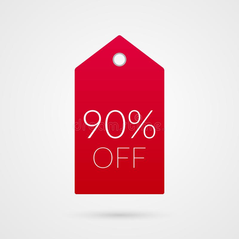 90 per cento fuori dall'icona di vettore dell'etichetta di acquisto Novanta simboli rossi e bianco isolati di sconto Segno da ven illustrazione di stock