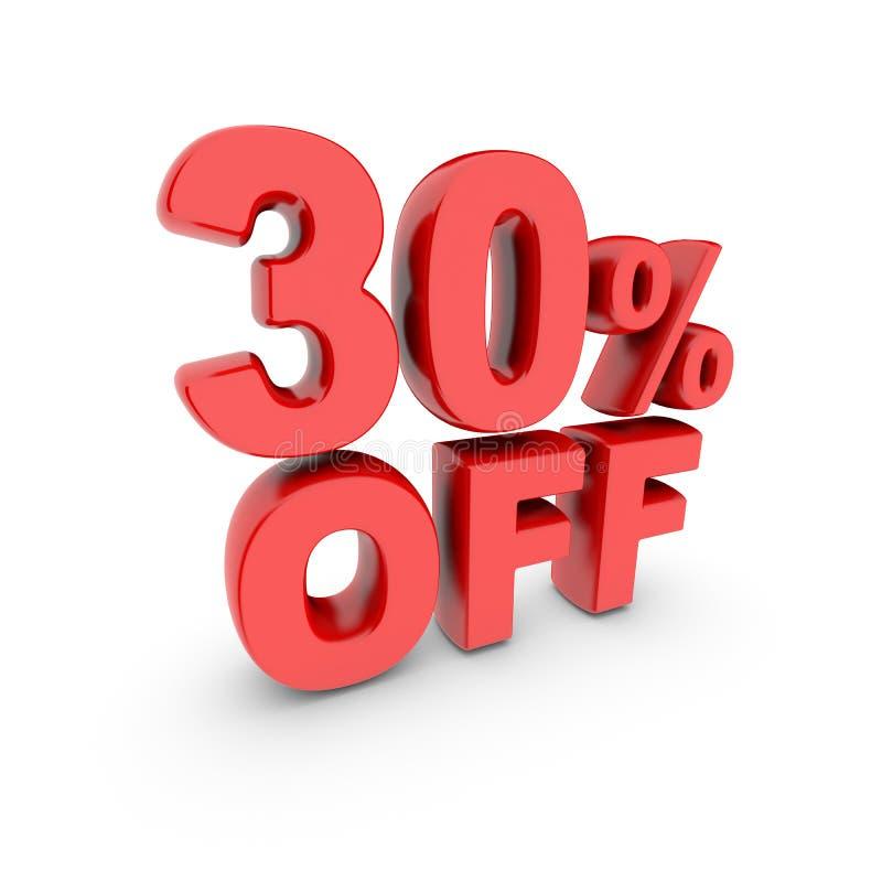 30 per cento fuori dalla promozione Segno di sconto Il testo rosso è isolato su bianco royalty illustrazione gratis