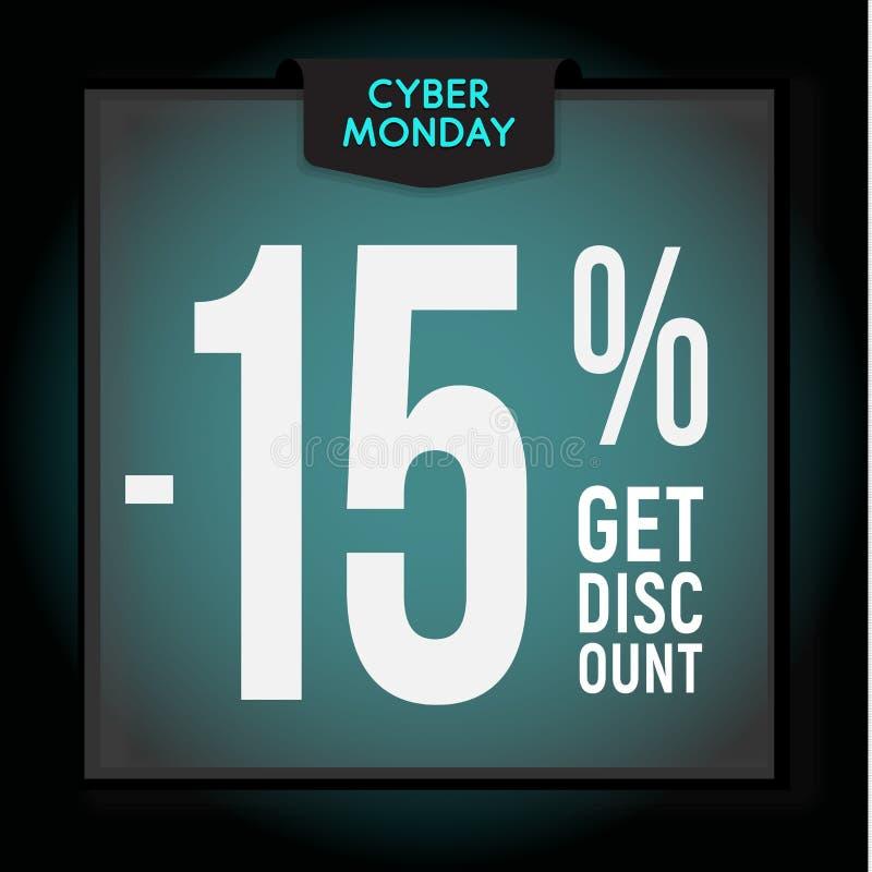 15 per cento fuori sconto di festa Vendita cyber di luned? Modello moderno dell'insegna per annunciare Illustrazione di vettore illustrazione vettoriale