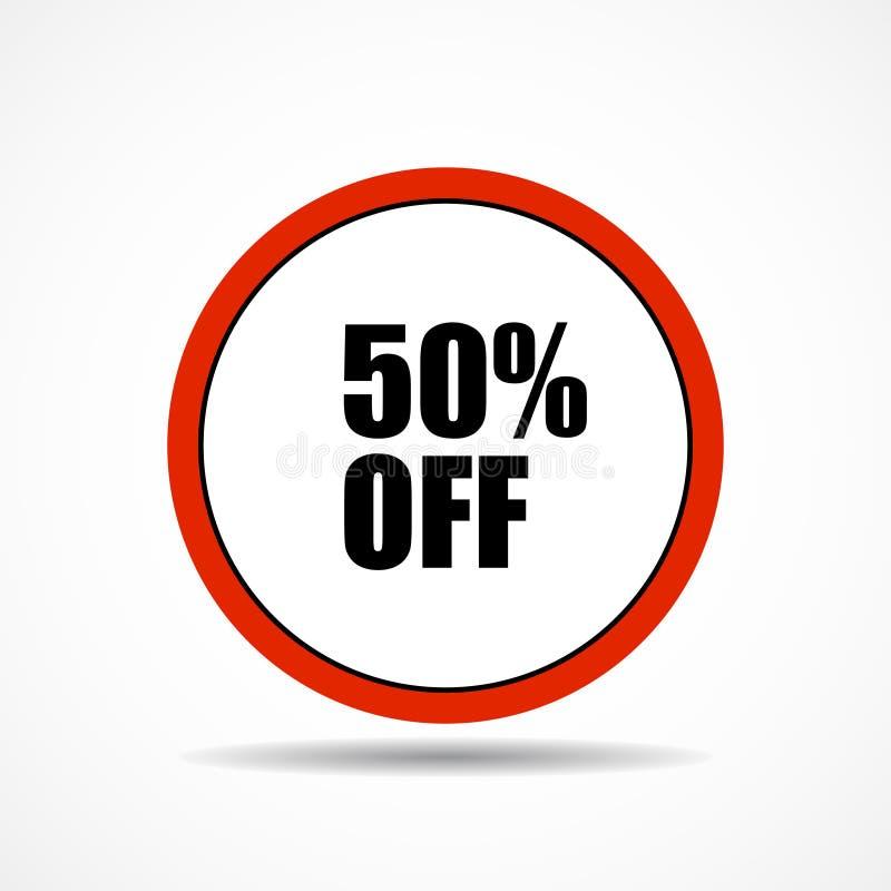 50 per cento fuori Simbolo dell'etichetta di vendita nella forma del cerchio, vendite di vendita di pubblicità royalty illustrazione gratis