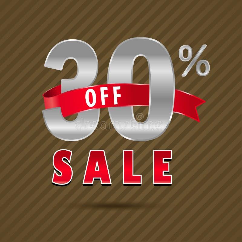 30 per cento fuori, testo di sconto di 30 vendite illustrazione di stock