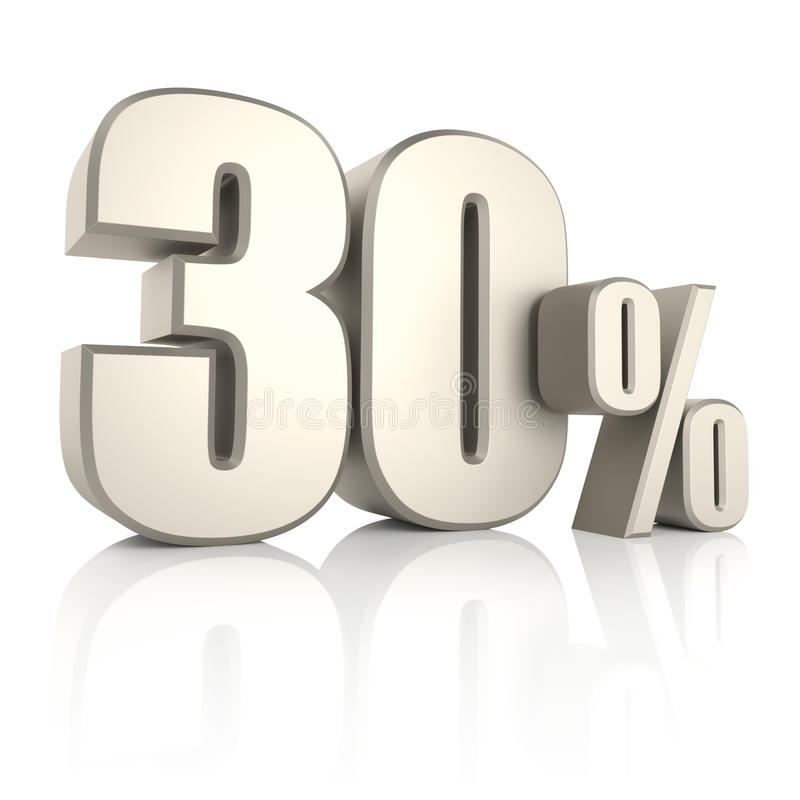 30 per cento isolati su fondo bianco 3d rendono illustrazione di stock