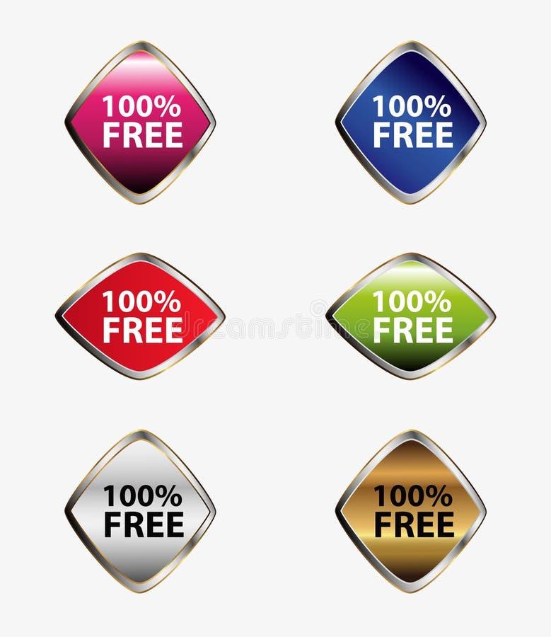 100 per cento liberano il vettore stabilito dell'etichetta dell'etichetta royalty illustrazione gratis