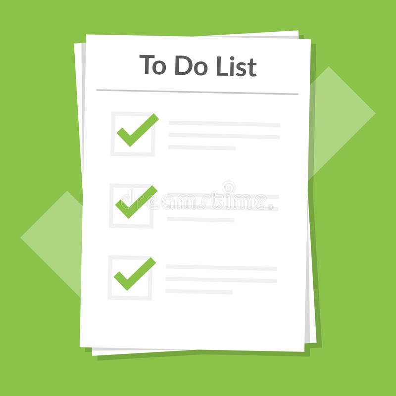 per fare concetto dell'icona della lista Tutte le mansioni sono completate Progettazione del segno di pianificazione Strati di ca illustrazione di stock