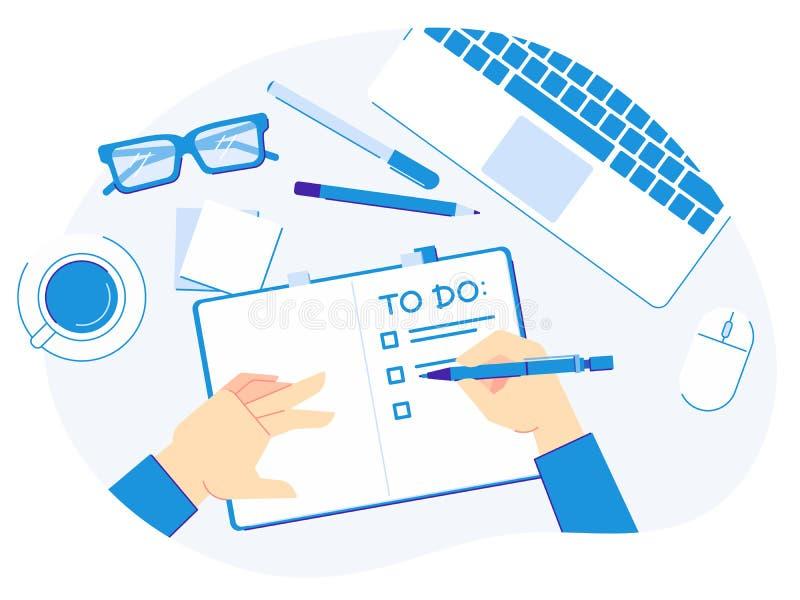 per fare scrittura della lista Mano con la penna scrivere le liste del pianificatore, organizzazione produttiva e blocco note sul royalty illustrazione gratis