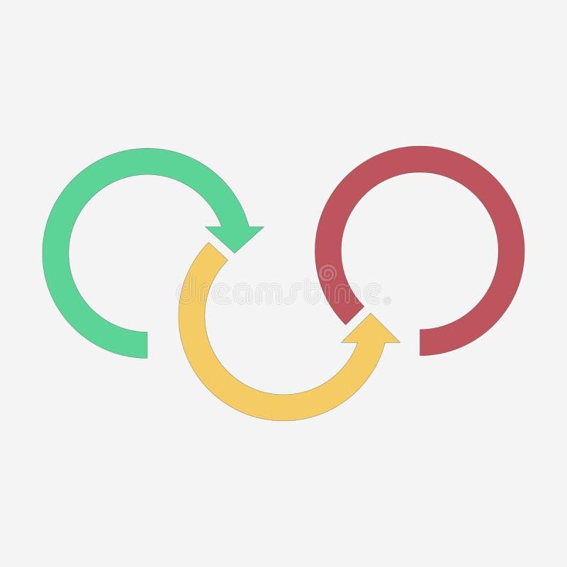 Per gradi tre frecce colorate Modello Infographics Illustrazione di vettore isolata su priorità bassa bianca royalty illustrazione gratis