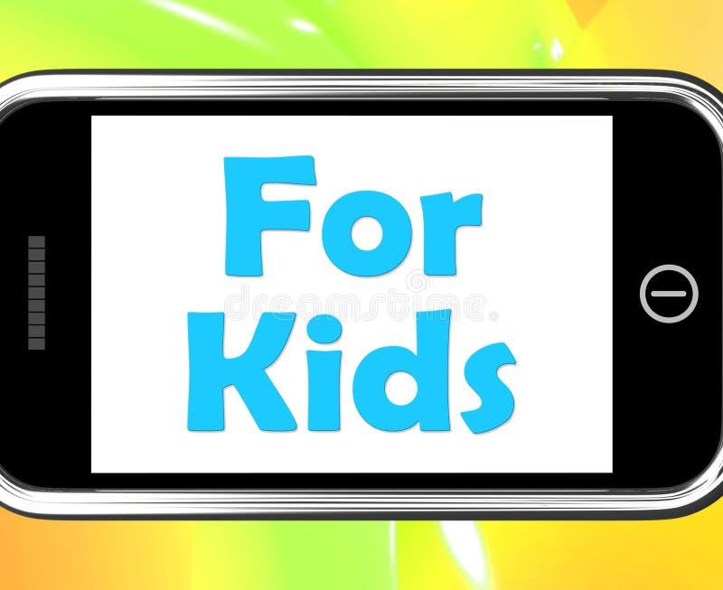 Per i bambini sul telefono significa le attività dei bambini royalty illustrazione gratis