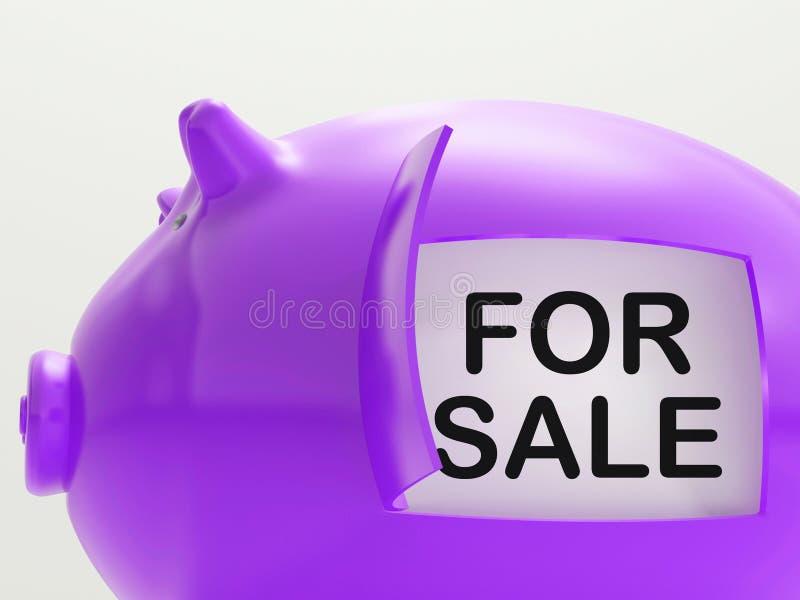 Per i mezzi del porcellino salvadanaio di vendita che vendono le merci illustrazione vettoriale