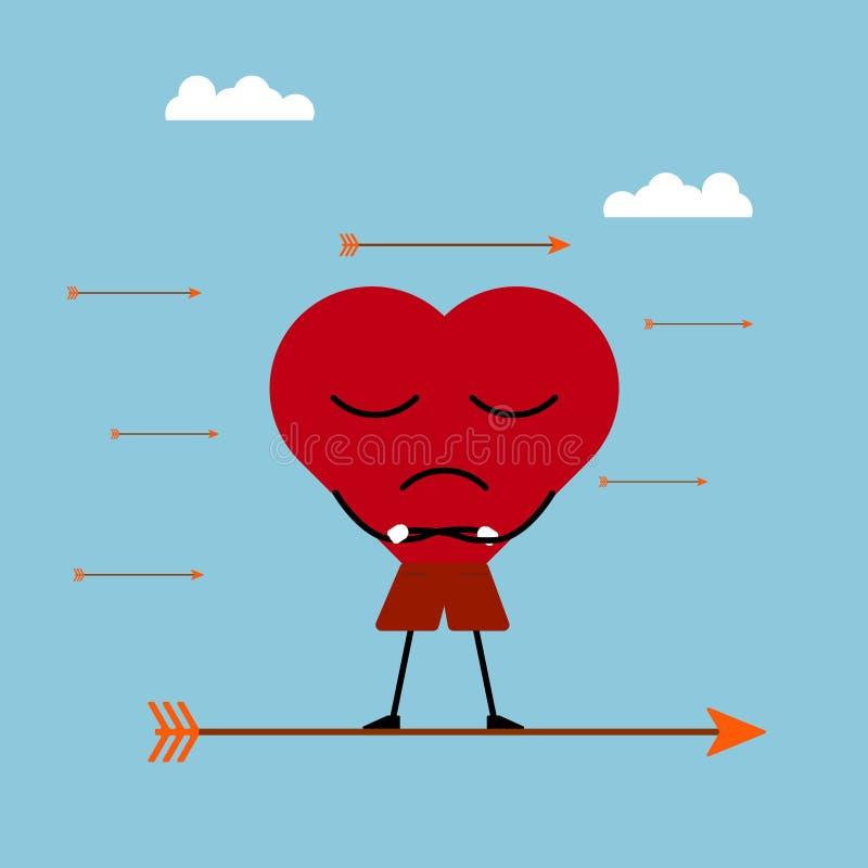 Per il giorno uno del biglietto di S. Valentino s il cuore è rimanere calmo alle frecce dei cupidi royalty illustrazione gratis