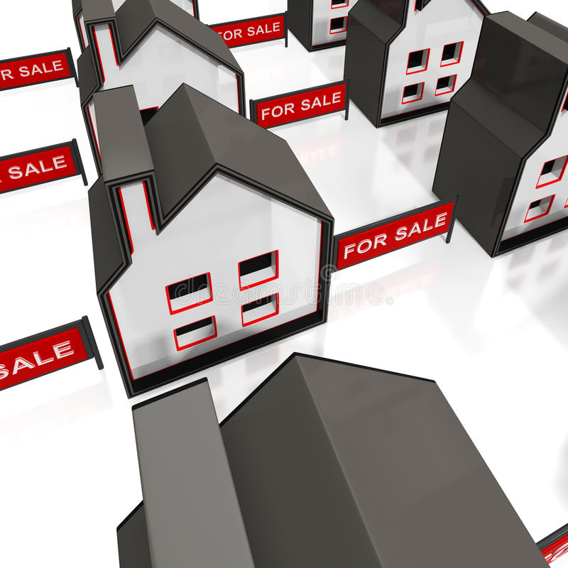 Per il segno di vendita sulle Camere illustrazione di stock