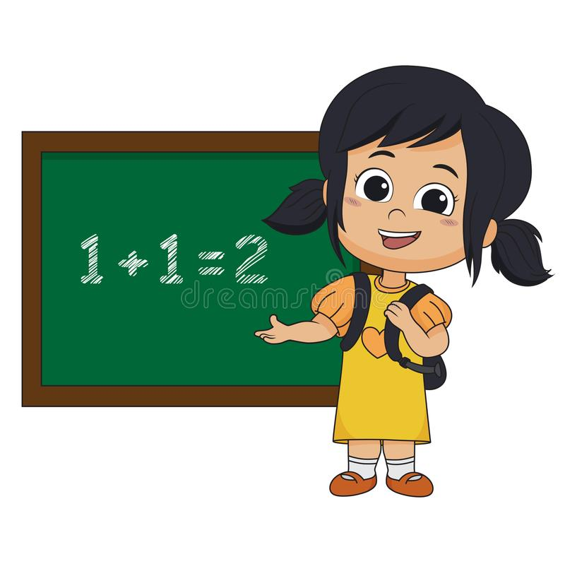 Per la matematica learing del bambino nella classe illustrazione di stock