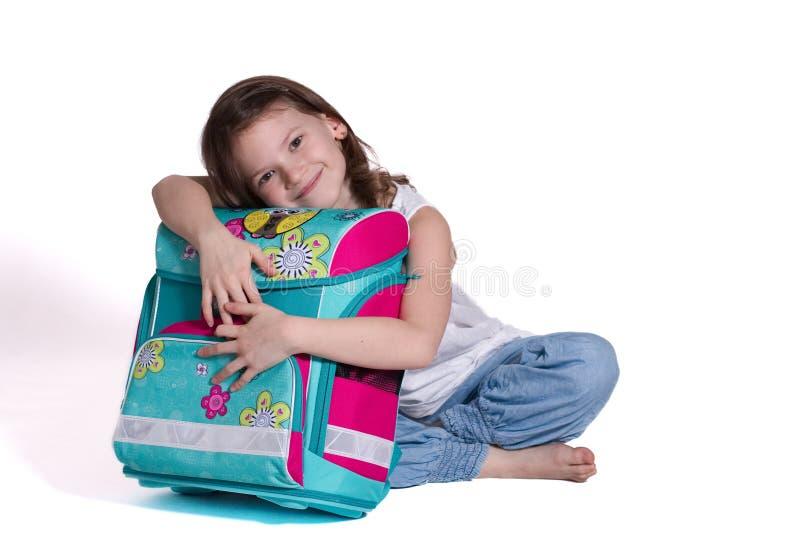 Per la prima volta a scuola - bambina immagini stock libere da diritti
