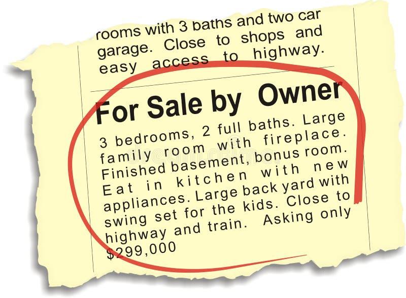 Per la vendita da Owner Ad immagini stock libere da diritti