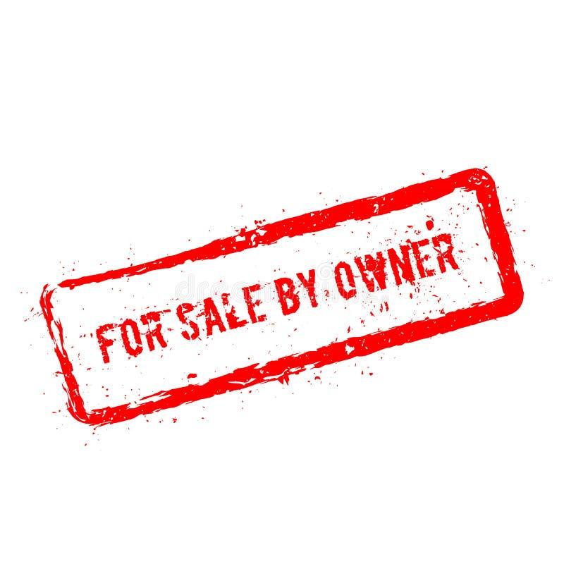 Per la vendita dal timbro di gomma rosso del proprietario isolato sopra illustrazione vettoriale
