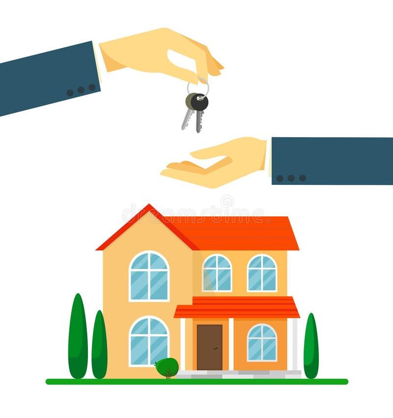 Per la villa o la casa di campagna di vendita Mano che passa le chiavi Illustrazione di vettore su priorit? bassa bianca illustrazione vettoriale