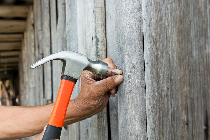 per martellare un chiodo con un martello Carpentiere più anziano del lavoratore immagini stock