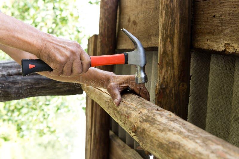 per martellare un chiodo con un martello Carpentiere più anziano del lavoratore immagine stock libera da diritti