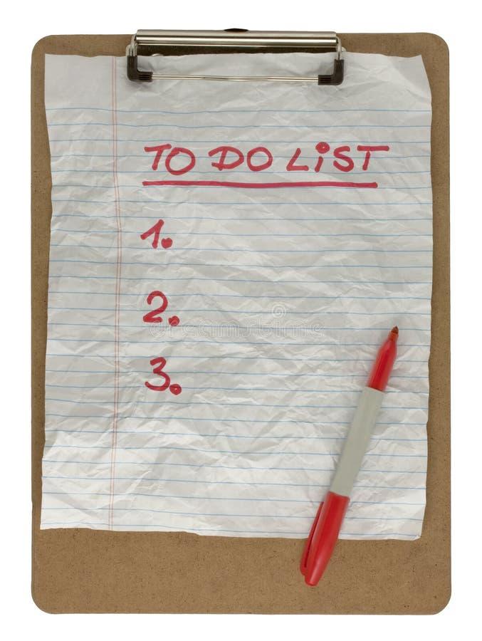 Per per fare lista sulla scheda di clip fotografia stock