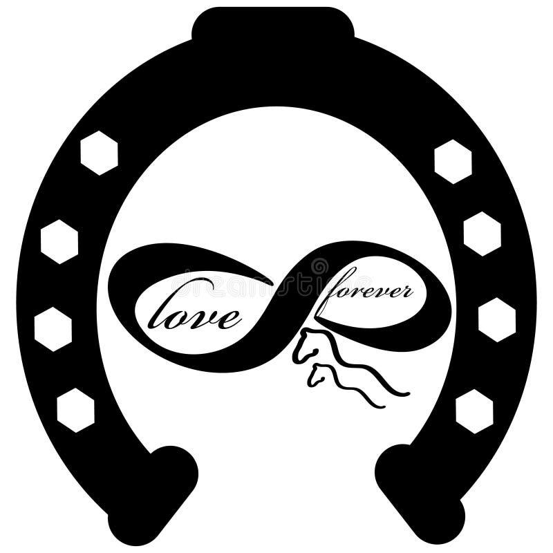 Per sempre ami l'icona con la scarpa del cavallo isolata su fondo bianco Illustrazione di vettore illustrazione di stock