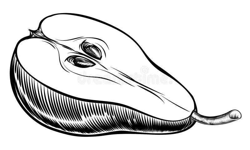 Pera affettata intaglio in legno d'annata illustrazione di stock