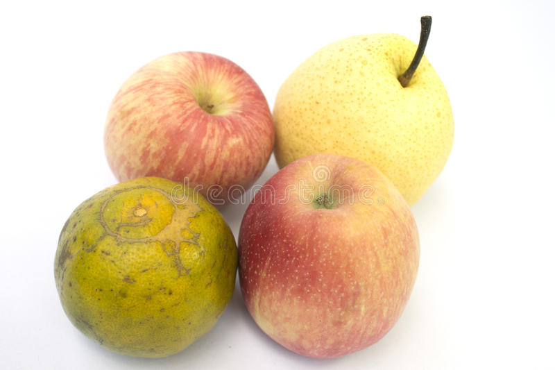 Pera alaranjada das maçãs fotos de stock royalty free