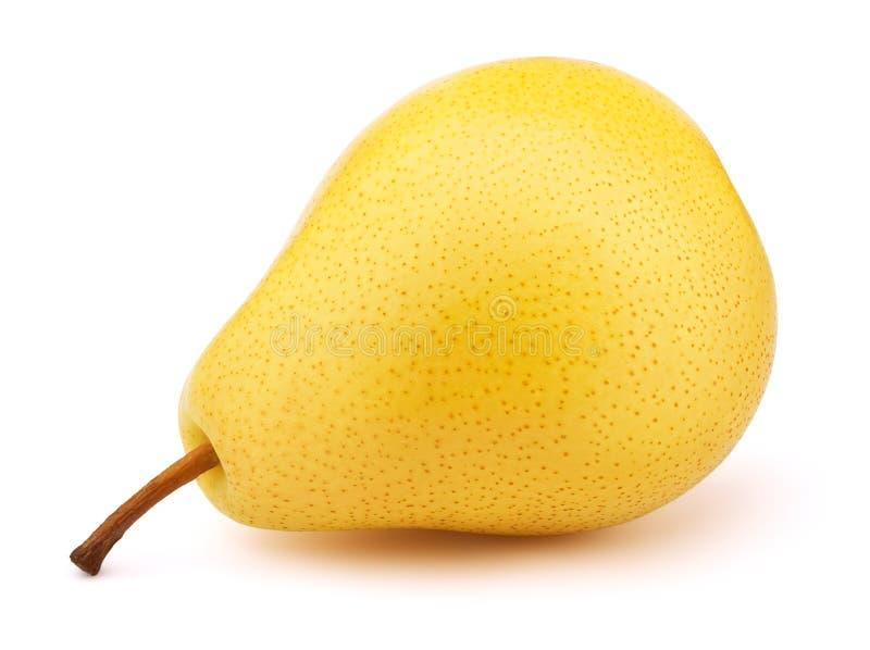 Pera amarela fresca isolada no branco imagem de stock
