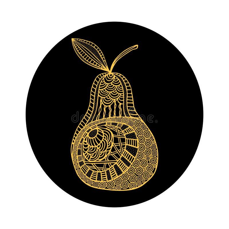 Pera amarela tirada mão isolada do esboço no fundo redondo preto Ornamento de linhas da curva ilustração stock