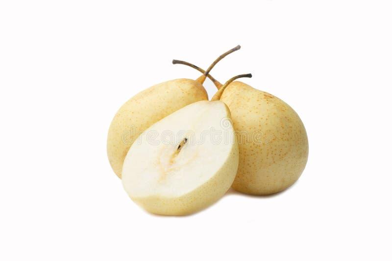 Pera asiatica isolata della pera cinese, pera di ya, frutta coreana, nashi sul contesto bianco fotografie stock libere da diritti