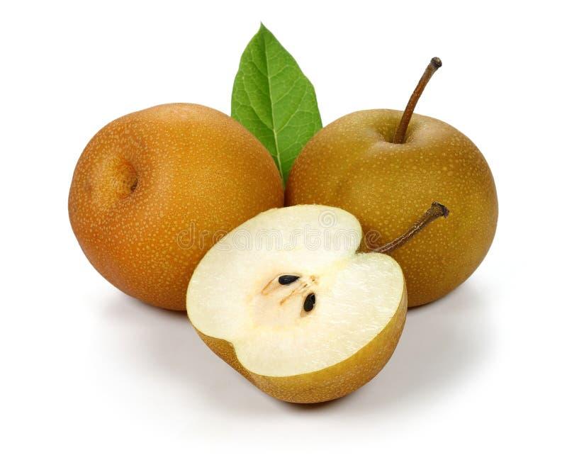 Pera asiatica o pera di Nashi con la foglia immagine stock