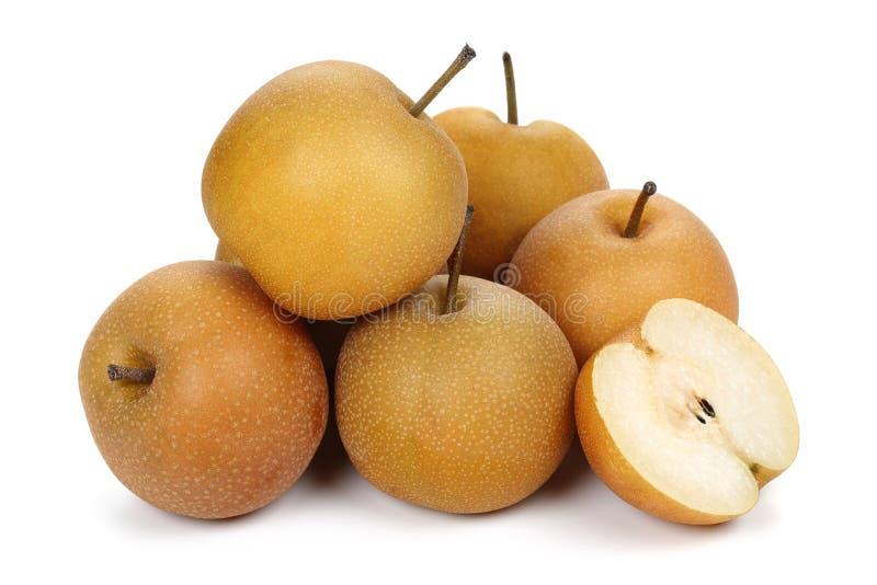 Pera asiatica o pera di Nashi su fondo bianco fotografia stock