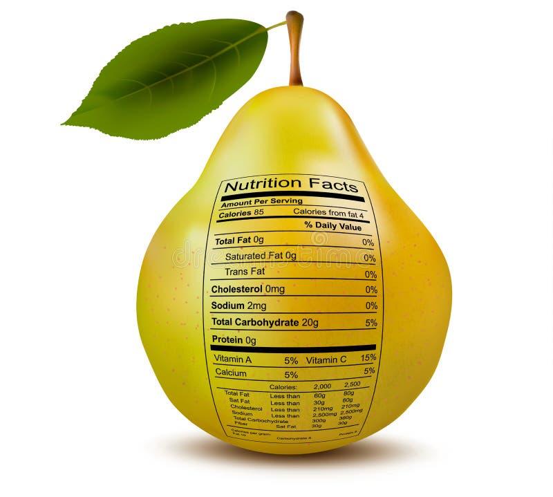 Pera con la etiqueta de los hechos de la nutrición. Concepto de salud stock de ilustración