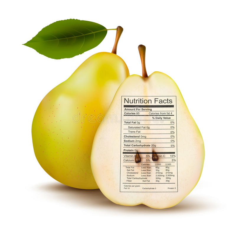 Pera con la etiqueta de los hechos de la nutrición. Concepto de salud ilustración del vector