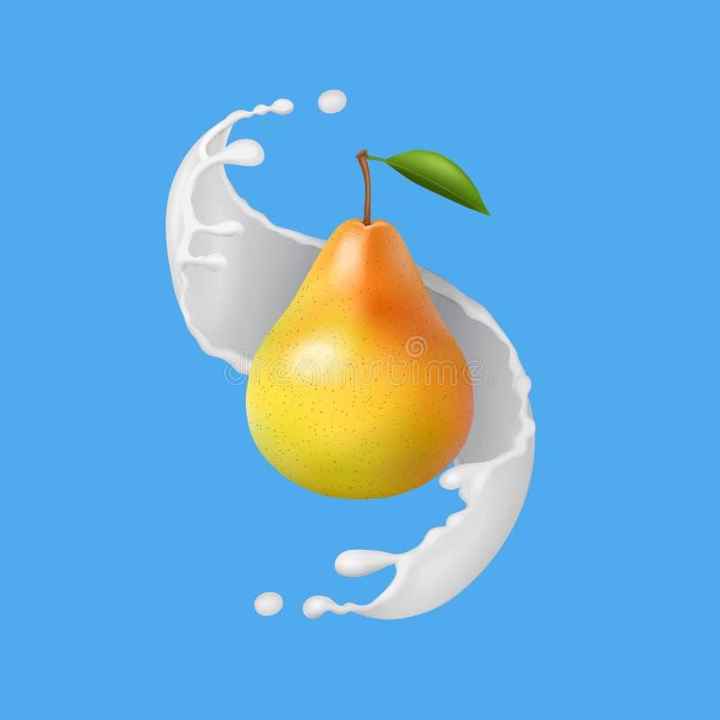 Pera con la spruzzata del yogurt o del latte Illustrazione della frutta Icona realistica di vettore illustrazione vettoriale