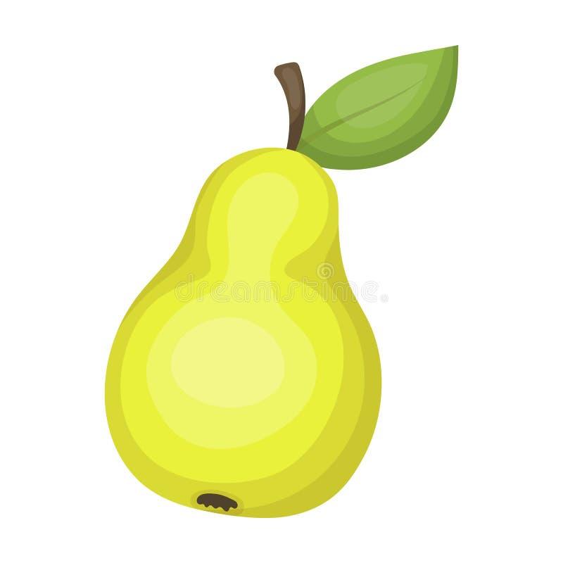 Pera con una hoja Fruta del trabajo de un trabajador del jardín Cultive y solo icono que cultiva un huerto en la acción del símbo stock de ilustración