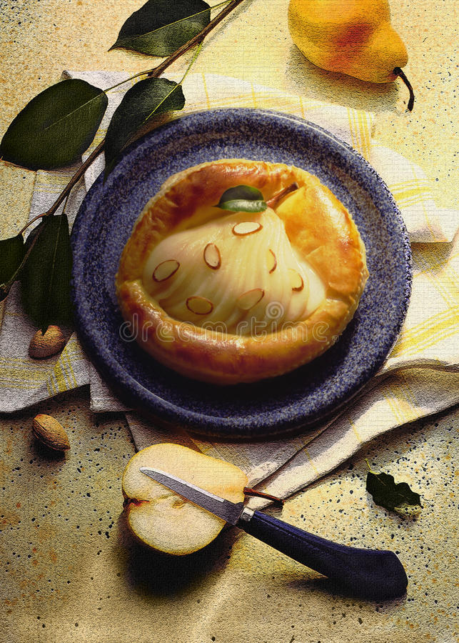 Pera-dessert-torta fotografia stock libera da diritti