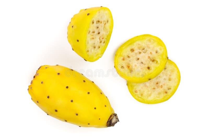 Pera espinhosa ou opuntia amarelo isolada em um fundo branco Vista superior Configura??o lisa fotos de stock royalty free