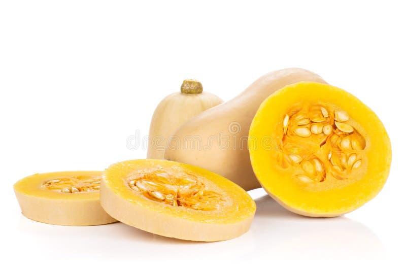 A pera lisa deu forma ao waltham alaranjado da polpa de butternut isolado no branco fotografia de stock