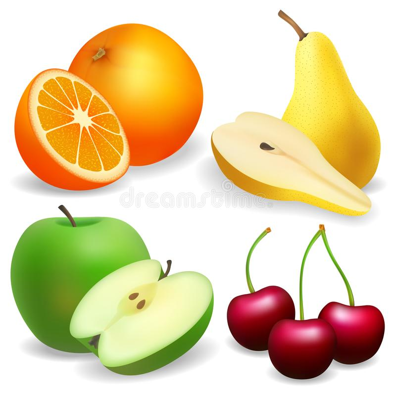 Pera, mela, arancio Ciliegia Insieme di frutta realistico fotografia stock libera da diritti