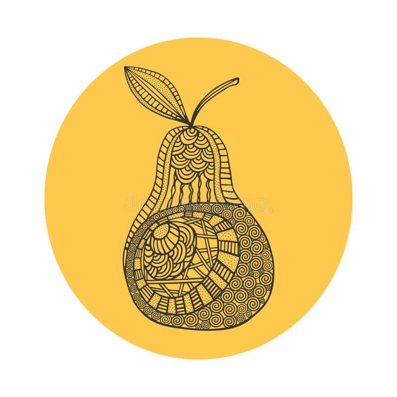 Pera preta tirada mão isolada do esboço no fundo redondo amarelo Ornamento de linhas da curva ilustração do vetor