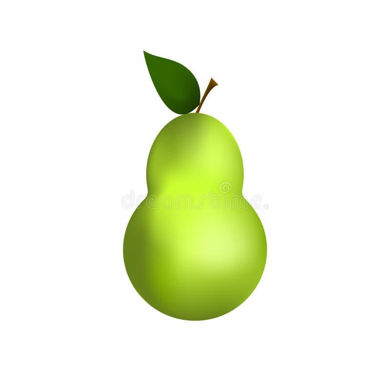 Pera verde no fundo branco ilustração royalty free